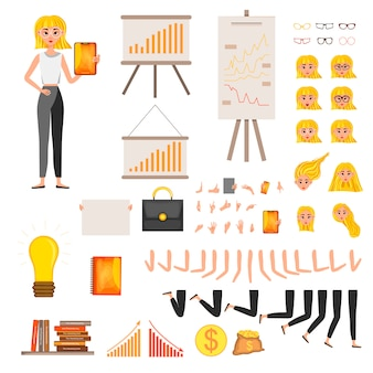 Bizneswomanu projekta charakteru pracujący set. ilustracji wektorowych.