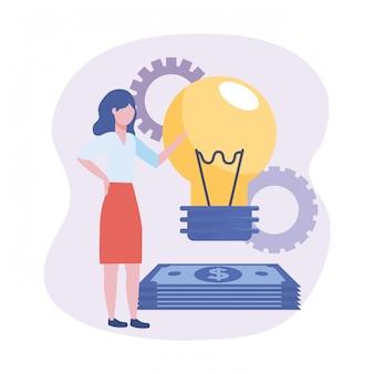 Bizneswomany z żarówka pomysłem i rachunkami z przekładniami