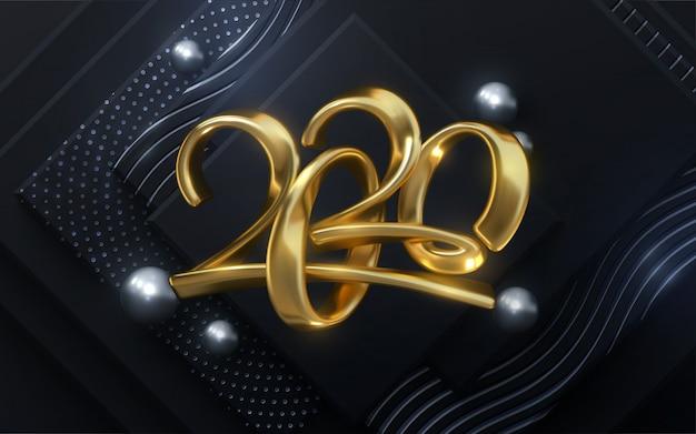 Biżuteria 2020 numerów. szczęśliwego nowego roku 2020. wakacyjna ilustracja złoci kaligraficzni charaktery