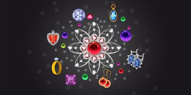 Biżuteria broszka kolekcja poziome tło
