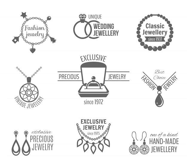Biżuteria czarny zestaw etykiet unikalne klasyczne rocznika biżuteria izolowane ilustracji wektorowych