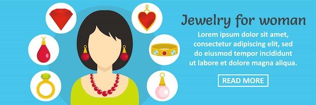 Biżuteria dla kobiety sztandaru szablonu horyzontalnego pojęcia