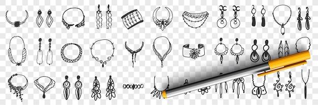 Biżuteria i akcesoria doodle zestaw ilustracji