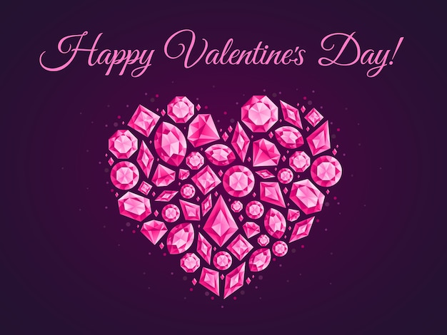 Biżuteria miłość serce kartkę z życzeniami. klejnotów diamentów plakat, ulotka klejnot kryształ lub diament serca ilustracja