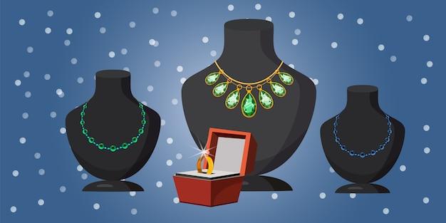 Biżuteria ślubna oferuje poziome tło