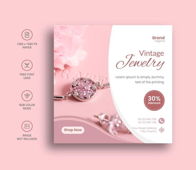 Biżuteria w mediach społecznościowych lub projekt banera