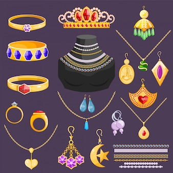 Biżuteria wektor biżuteria złota bransoletka kolczyki naszyjnik i srebrne pierścionki z diamentami akcesoria jubilerskie