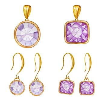Biżuteria zestaw dwóch kolczyków i wisiorek ilustracja