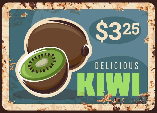 Blacha z owocami kiwi, tabliczka z ceną żywności na targu, plakat retro