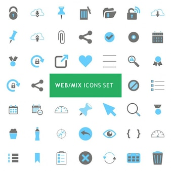 Black and blue mix icon set
