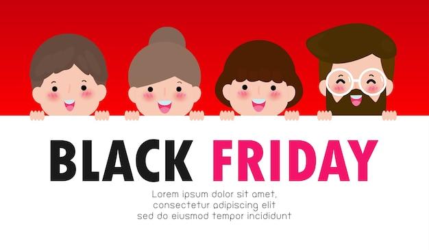 Black friday sale event, grupa koncepcja zakupów ludzi posiadających duże znaki, reklama plakat baner sklep duży rabat promocyjny wydarzenie sprzedaży na białym tle na tle