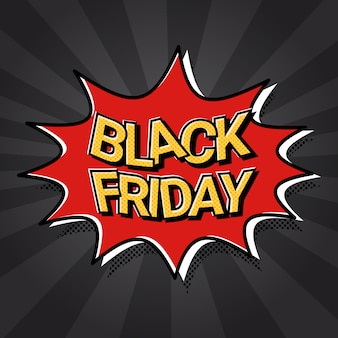 Black friday sale web banner pop art komiks zniżki plakat