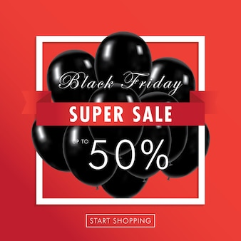 Black friday super sale z black balloons i super zniżki na sprzedaż