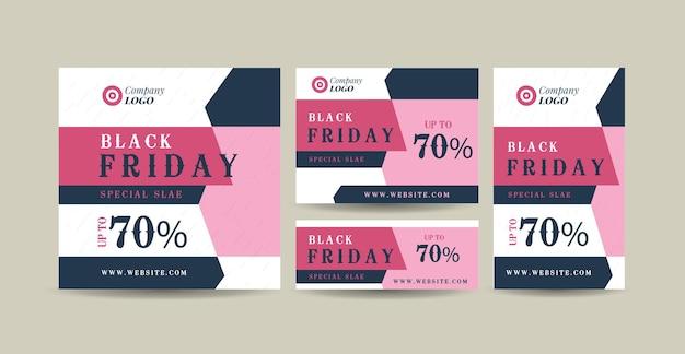 Black friday web banner design lub rabatowa strona internetowa i szablon banera społecznościowego