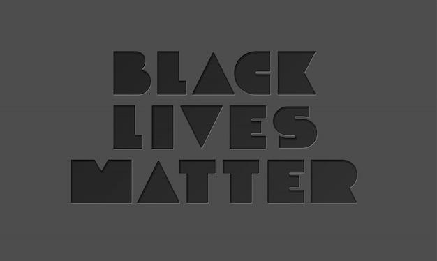 Black lives matter minimalistyczna typografia na ciemnoszarym tle. brak rasizmu. ilustracja na plakat, koszulę, baner. protestujący sztandar dotyczący praw człowieka czarnoskórych w ameryce.