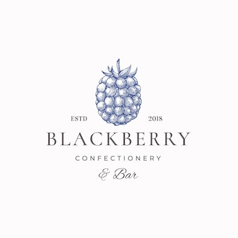 Blackberry słodycze streszczenie znak, symbol lub szablon logo.