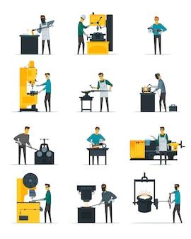Blacksmith przy prac płaskimi ikonami ustawiać z metalem stapia się odlew kucie i młotkować na kowadle odizolowywającym