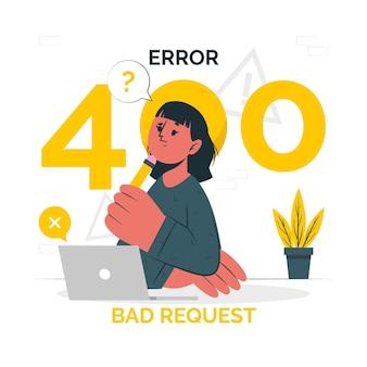 Błąd 400 ilustracji koncepcji złego żądania
