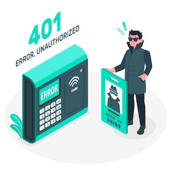 Błąd 401 ilustracja pojęcia nieautoryzowanego