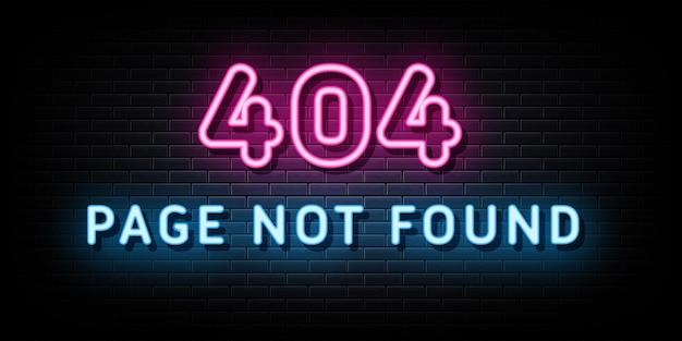 Błąd 404 neonowe znaki szablon projektu wektorowego styl neonowy