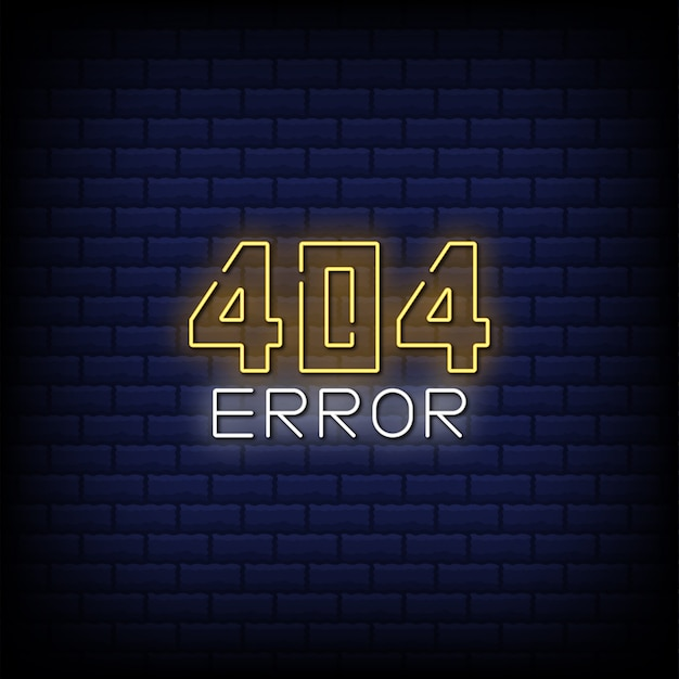 Błąd 404 neonowy znak