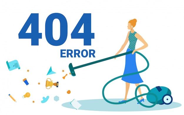 Błąd 404, nie znaleziono strony, kobieta odkurza podłogę.