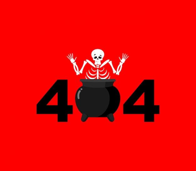 Błąd 404, strona nie znaleziona dla strony internetowej z grzesznikiem w kotle