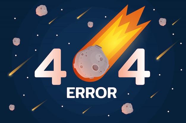 Błąd 404 z meteorytem, gwiazdami i meteortem w przestrzeni
