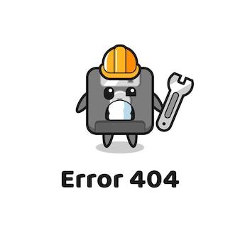 Błąd 404 z uroczą maskotką dyskietki, ładnym stylem na koszulkę, naklejkę, element logo