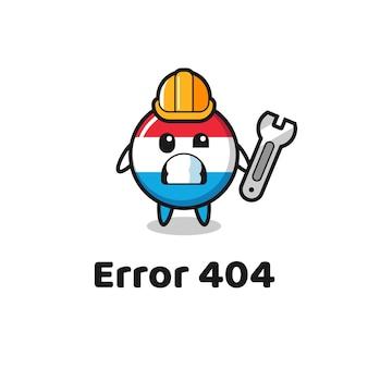 Błąd 404 z uroczą maskotką flagi luksemburga, ładny styl na koszulkę, naklejkę, element logo