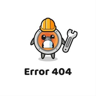 Błąd 404 z uroczą maskotką głośnika, uroczym stylem na koszulkę, naklejkę, element logo