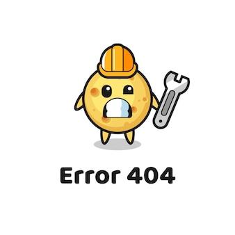 Błąd 404 z uroczą maskotką z okrągłym serem, uroczym stylem na koszulkę, naklejkę, element logo