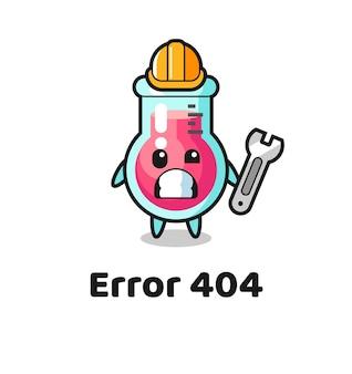 Błąd 404 z uroczą maskotką zlewki laboratoryjnej, uroczym stylem na koszulkę, naklejkę, element logo
