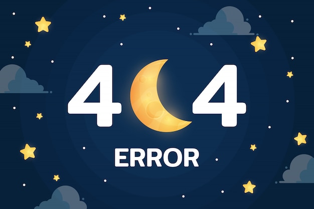 Błąd 404 z wektorem księżyca, chmury i gwiazd na nocnym niebie