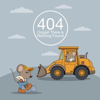 Błąd 404 z zabawną kreskówką myszy