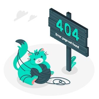 Błąd 404 ze słodką ilustracją koncepcji zwierząt