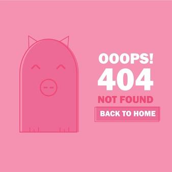 Błąd 404 ze słodką świnią kreskówkową. nie znaleziono szablonu strony internetowej. strona zagubiona i znaleziona wiadomość - problem z rozłączeniem