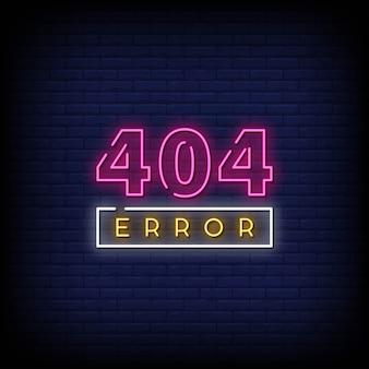 Błąd 404 znaki neonowe styl tekst wektor