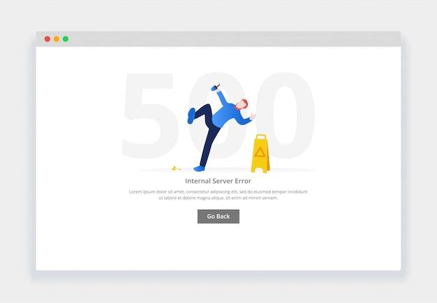 Błąd 500. koncepcja nowoczesnej płaskiej konstrukcji człowieka upadającego obok znaku mokrej podłogi na stronie internetowej. szablon strony pustych stanów