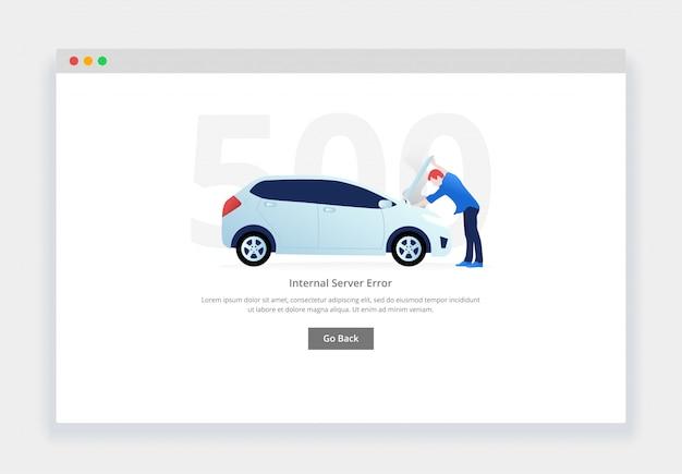 Błąd 500. nowoczesna płaska koncepcja człowieka badającego uszkodzony silnik samochodu na stronie internetowej. szablon strony pustych stanów