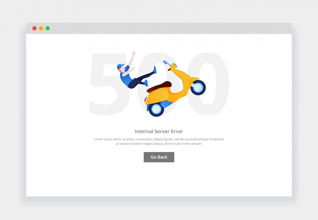 Błąd 500. nowoczesna płaska koncepcja człowieka spada z motocykla na stronę internetową. szablon strony pustych stanów