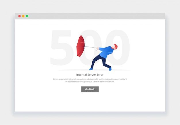Błąd 500. nowoczesna płaska koncepcja człowieka z otwartym parasolem walczącym z wiatrem o stronę internetową. szablon strony pustych stanów