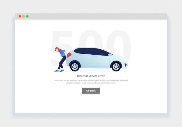 Błąd 500. nowoczesna płaska koncepcja kobiety pchającej zepsuty samochód na stronę internetową. szablon strony pustych stanów