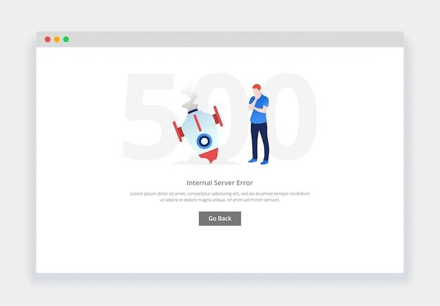 Błąd 500. nowoczesna płaska koncepcja zdezorientowanego mężczyzny widzącego spadającą rakietę na stronę internetową. szablon strony pustych stanów