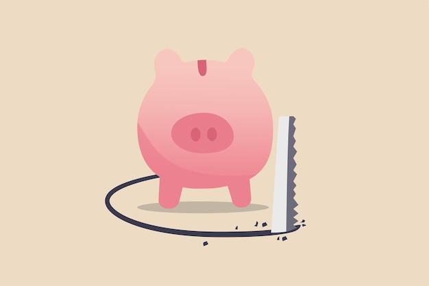 Błąd finansowy, ryzyko inwestycyjne i utrata pieniędzy w kryzysie gospodarczym lub koncepcji rabunku i oszustwa, bogata różowa skarbonka jest przecinana pod podłogą w celu kradzieży pieniędzy.