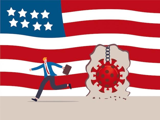 Błąd ochrony przed epidemią choroby wirusowej, wirus covid-19 niszczy i przełamuje ścianę koncepcji usa, niszcząc piłkę, gdy patogen covid-19 niszczy ścianę flagi stanów zjednoczonych ameryki, biznesmen ucieka