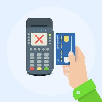Błąd płatności zbliżeniowych. terminal płatniczy z czerwonym krzyżem wyboru.