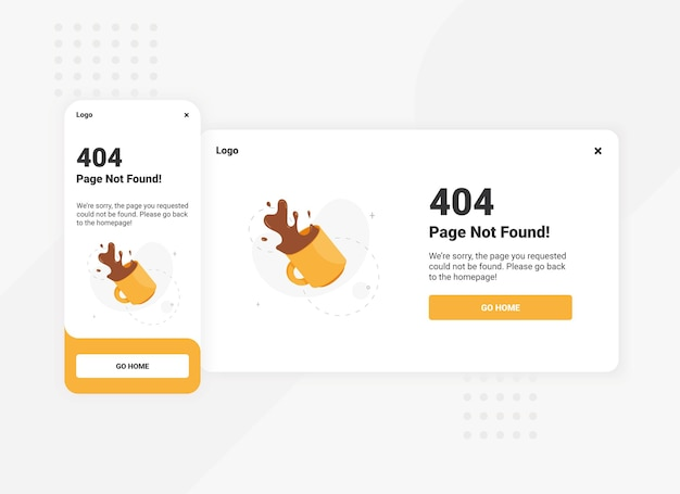Błąd strony 404 dla szablonu interfejsu użytkownika na urządzenia mobilne i komputery stacjonarne