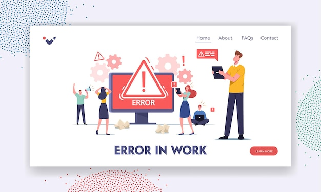 Błąd w szablonie strony docelowej pracy. małe męskie i żeńskie postacie trzymające gadżety. witryna 404 nie znaleziono strony, przerwane połączenie internetowe w budowie. ilustracja wektorowa kreskówka ludzie