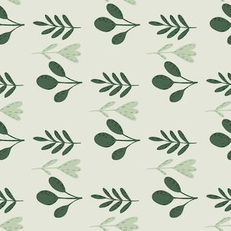Blady las kształtuje bezszwowe doodle wzór. zielona stylizowana grafika botaniczna. prosty kreatywny projekt. ilustracji. projekt wektor dla tekstyliów, tkanin, prezentów, tapet.